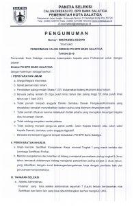 Pengumuman Seleksi Direksi PD. BPR Bank Salatiga