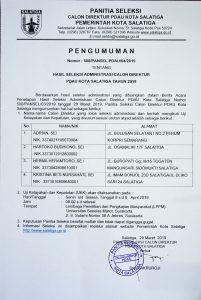 Pengumuman Hasil Seleksi Administrasi Calon Direktur PDAU Kota Salatiga