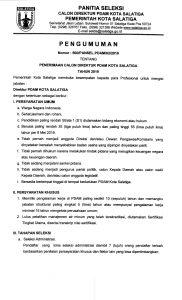 Pengumuman Penerimaan Calon Direktur PDAM Kota Salatiga